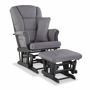Storkcraft Tuscany Custom Glider and Ottoman in Gray and Slate Gray Swirl - Click to enlarge