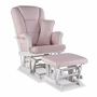 Storkcraft Tuscany Custom Glider and Ottoman in White and Pink Blush Swirl