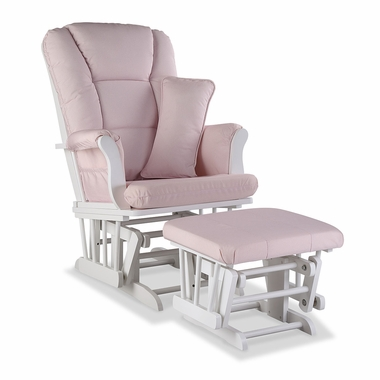 Storkcraft Tuscany Custom Glider and Ottoman in White and Pink Blush Swirl - Click to enlarge