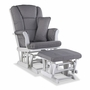 Storkcraft Tuscany Custom Glider and Ottoman in White and Slate Gray Swirl