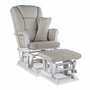 Storkcraft Tuscany Custom Glider and Ottoman in White and Taupe Swirl