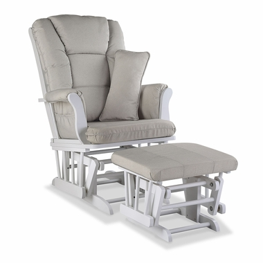 Storkcraft Tuscany Custom Glider and Ottoman in White and Taupe Swirl - Click to enlarge