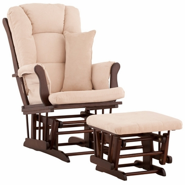 Storkcraft Tuscany Glider and Ottoman with Lumbar Pillow in Espresso Finish and Beige Fabric - Click to enlarge