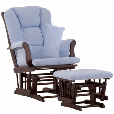 Storkcraft Tuscany Glider and Ottoman with Lumbar Pillow in Espresso Finish and Blue Fabric - Click to enlarge