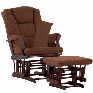 Storkcraft Tuscany Glider and Ottoman with Lumbar Pillow in Espresso Finish and Chocolate Fabric - Click to enlarge
