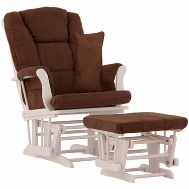 Storkcraft Tuscany Glider and Ottoman with Lumbar Pillow in White Finish and Chocolate Fabric - Click to enlarge