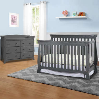 Storkcraft Venetian 2 Piece Nursery Set Convertible Crib And Avalon 6 Drawer Dresser In Gray