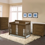 Storkcraft Verona 3 Piece Nursery Set - Convertible Crib, Kenton 3 Drawer and 5 Drawer Dresser in Dove Brown