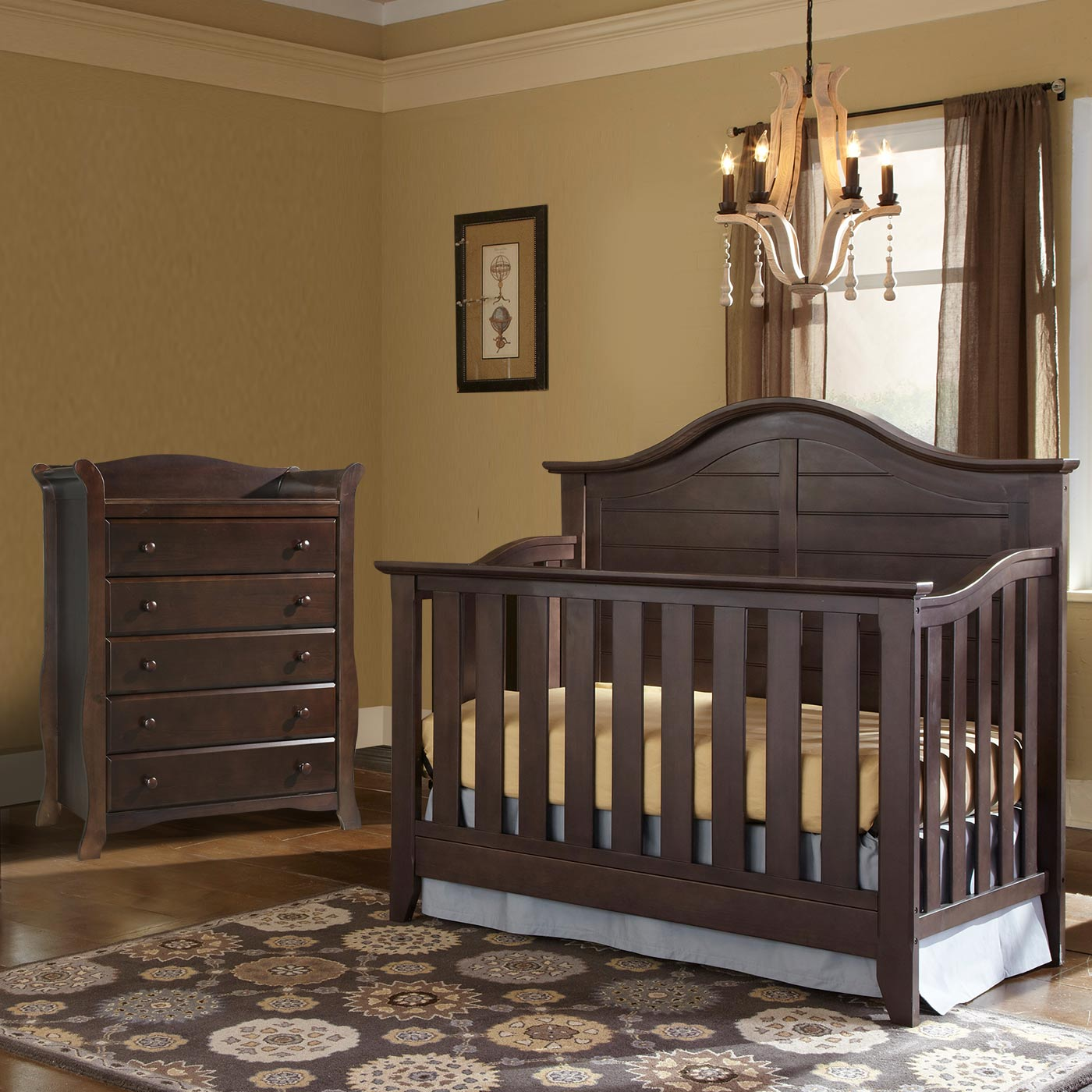 Thomasville 2 Piece Nursery Set Southern Dunes Lifestyle Crib And Avalon 5 Drawer Dresser In Espresso Free Shipping