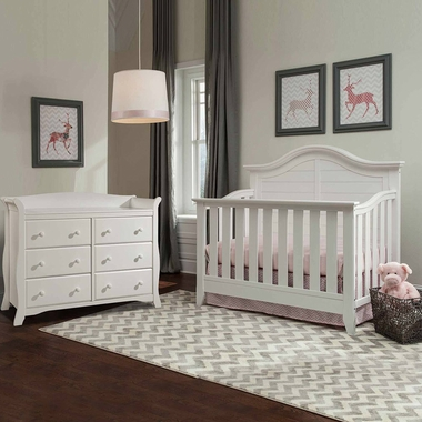 Thomasville 2 Piece Nursery Set - Southern Dunes Lifestyle Crib and Avalon 6 Drawer Dresser in White - Click to enlarge