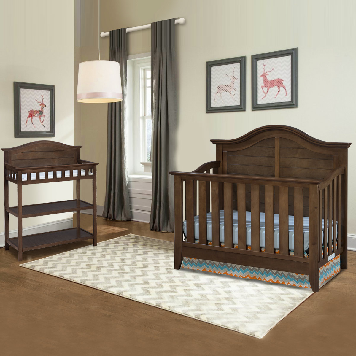 Thomasville 2 Piece Nursery Set Southern Dunes Lifestyle Crib And Dressing Table In Dove Brown Free