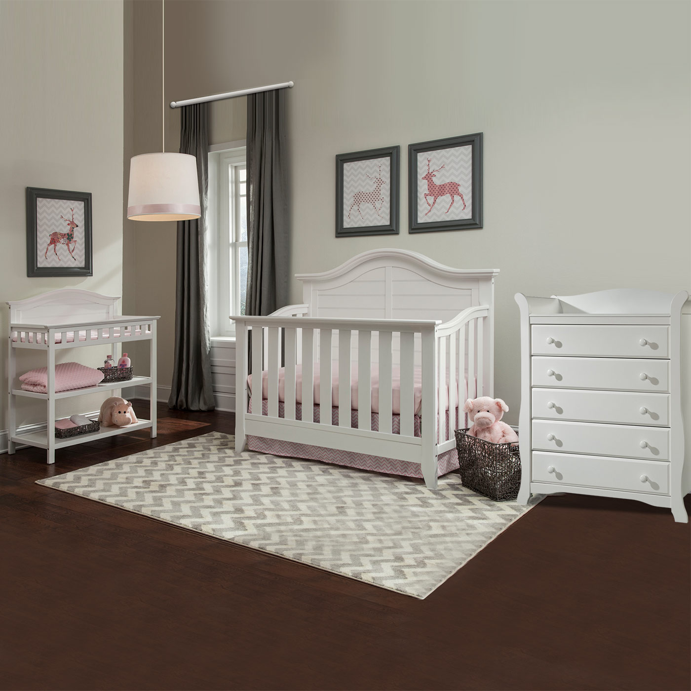 Thomasville 3 Piece Nursery Set Southern Dunes Lifestyle Crib Dressing Table And Avalon 5 Drawer Dresser In White Free