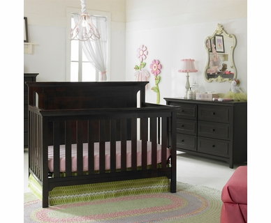 Ti Amo 2 Piece Nursery Set - Carino Convertible Crib and Double Dresser in Espresso