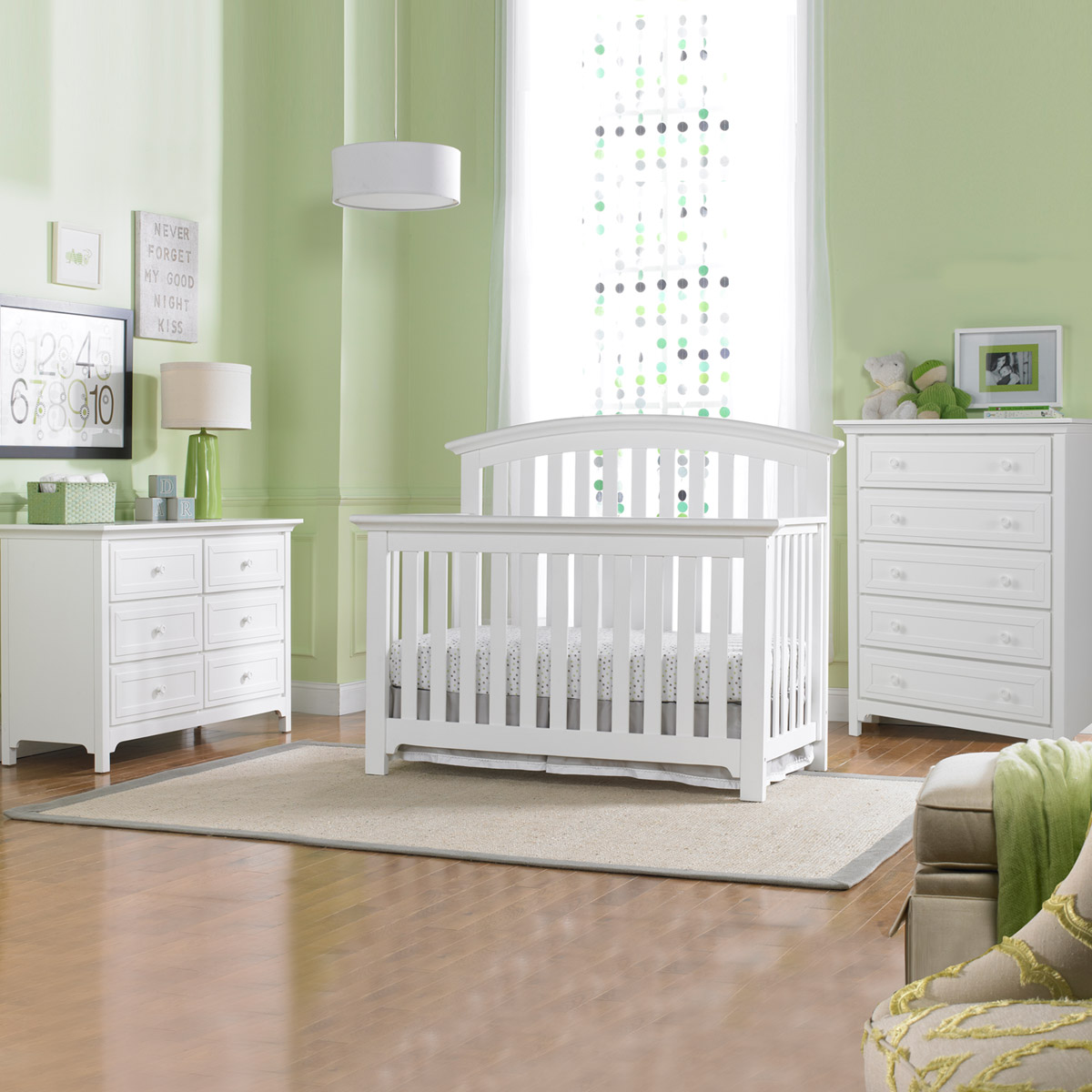 Ti Amo Baci 3 Piece Nursery Set Convertible Crib Double Dresser And 5 Drawer In Snow White