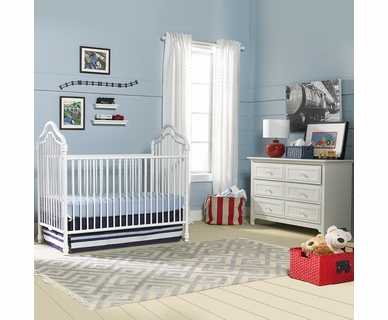 Ti Amo Caden 2 Piece Nursery Set - Iron Crib and Double Dresser in White