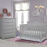 Ti Amo Catania 2 Piece Nursery Set - Convertible Crib and Carino 5 Drawer Dresser in Misty Gray