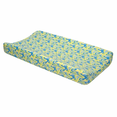 Trend Lab Dr. Seuss Blue, Oh The Places You'll Go! Changing Pad Cover in Blue - Click to enlarge