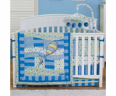 Trend Lab Dr. Seuss Oh! The Places You'll Go! 4 Piece Crib Bedding Set in Blue