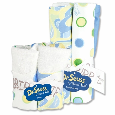 Trend Lab Dr. Seuss Oh! The Places You'll Go! Bib & Burp Cloth Set in Blue - Click to enlarge