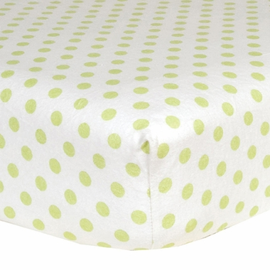 Trend Lab Flannel Crib Sheet in Sage Green and White Dot - Click to enlarge