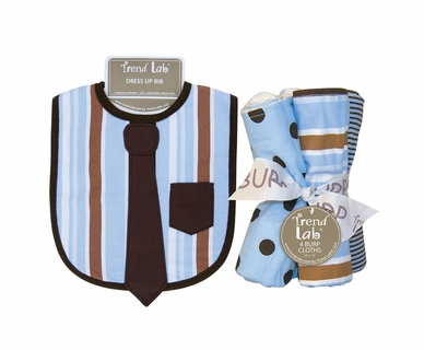 Trend Lab Max Dress Up Necktie Bib and Burp Cloth Set