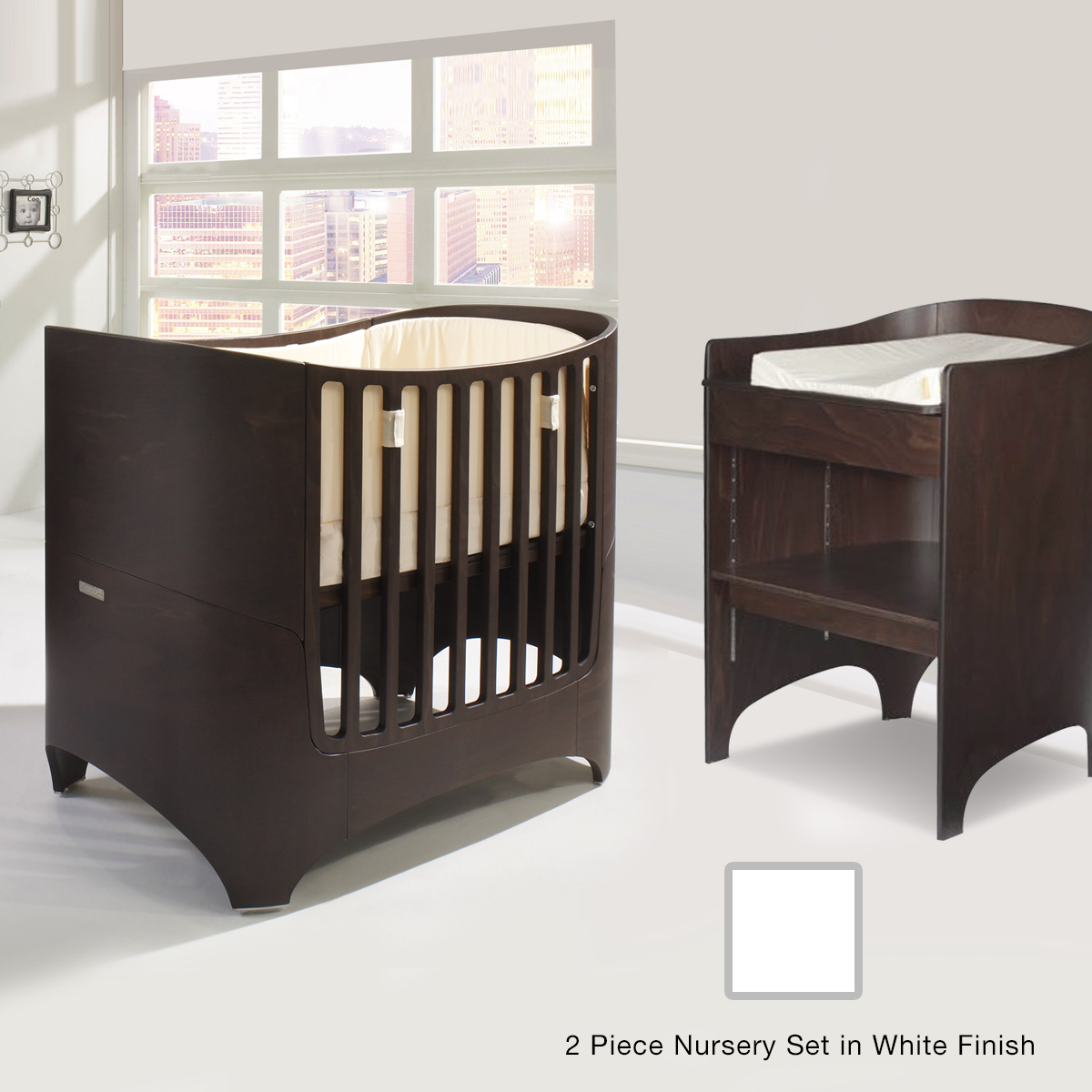 tulip leander  piece nursery set  crib  conversion kit and  - tulip leander  piece nursery set  crib  conversion kit and changingtable in white free shipping