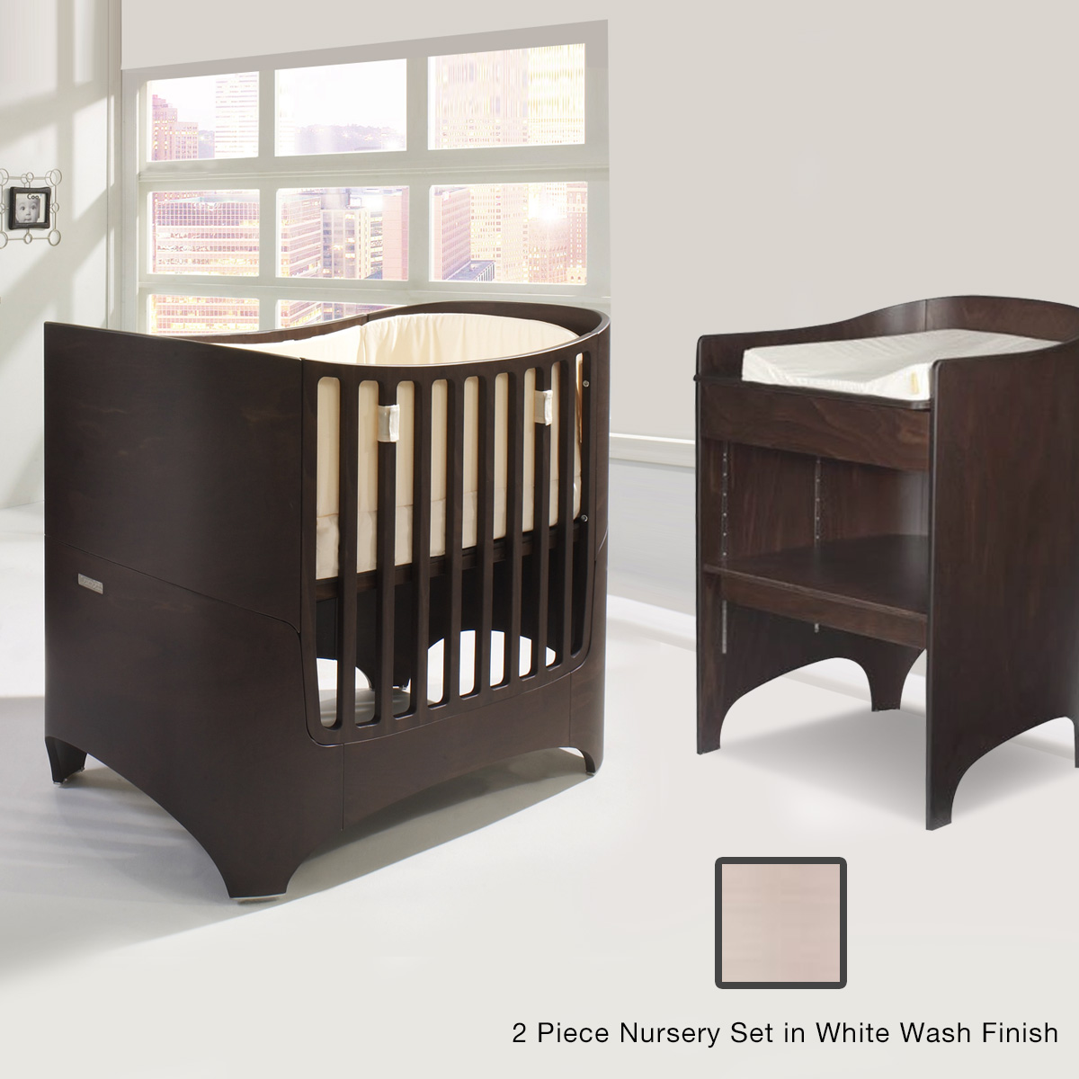 Tulip Leander 2 Piece Nursery Set   Crib + Conversion Kit And Changing Table  In White Wash FREE SHIPPING