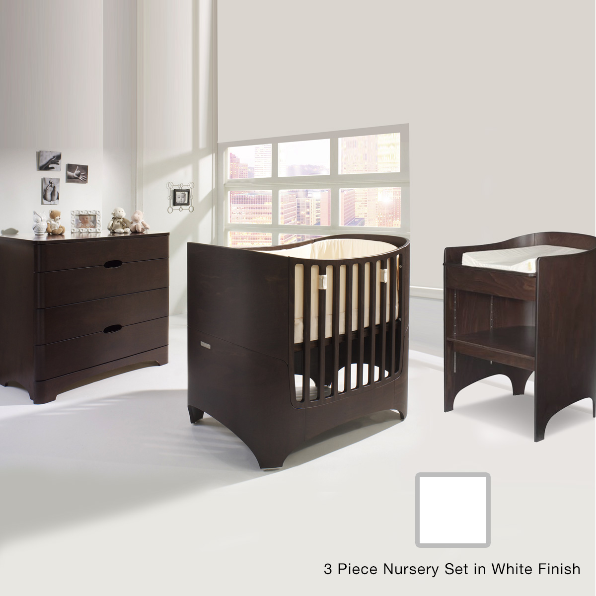 Tulip Leander 2 Piece Nursery Set Crib Conversion Kit Changing Table And 4 Drawer Dresser In White Free Shipping