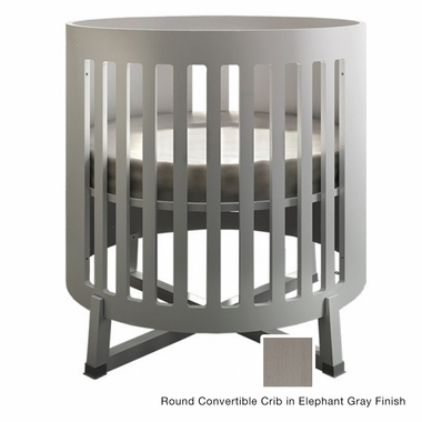 Tulip Soren Round Convertible Crib in Elephant Gray - Click to enlarge