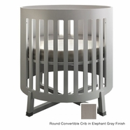 Tulip Soren Round Convertible Crib in Elephant Gray