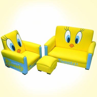 Awesome Warner Brothers Tweety Deluxe Toddler Sofa Chair And Ottoman Ncnpc Chair Design For Home Ncnpcorg