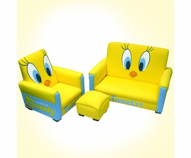 Warner Brothers Tweety Deluxe Toddler Sofa, Chair and Ottoman
