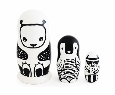 Wee Gallery Wee Black & White Russian Nesting Dolls