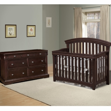 Westwood Design 2 Piece Nursery Set Stratton Convertible Crib And Double Dresser In Chocolate Mist