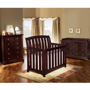 Westwood Design 3 Piece Nursery Set Brookline Convertible Crib Double Dresser And 6 Drawer Chest In Chocolate Mist Free Shipping