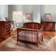 Westwood Design 3 Piece Nursery Set - Jonesport Convertible Crib, Dressing Combo and 5 Drawer Chest in Virginia Cherry