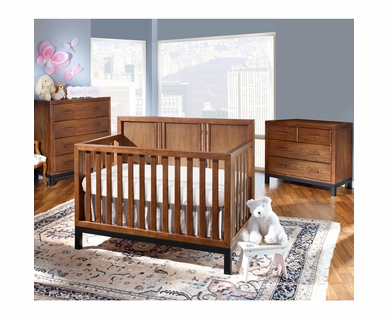 Westwood Design 3 Piece Nursery Set - Park West Convertible Crib, Dressing Combo and 4 Drawer Chest in Walnut