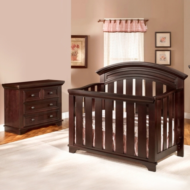 Westwood Design Geneva 2 Piece Nursery Set Convertible Crib And Combo Dressing Chest In Chocolate Mist Free Shipping