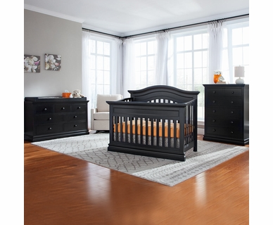 Westwood Design Stone Harbor 3 Piece Nursery Set - Convertible Panel Crib, 5 Drawer Chest and 7 Drawer Dresser in Black
