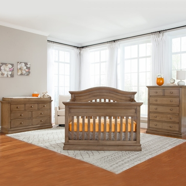 Westwood Design Stone Harbor 3 Piece Nursery Set - Convertible Panel Crib, 5 Drawer Chest and 7 Drawer Dresser in Cashew - Click to enlarge