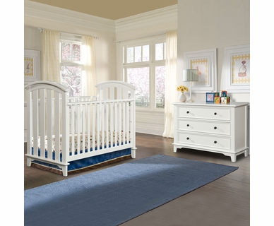 Westwood Design Tribeca 2 Piece Nursery Set - Convertible Cottage Crib and 3 Drawer Dresser in White