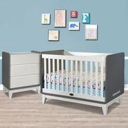 Zutano 2 Piece Nursery Set - Tivoli Convertible Crib and 3 Drawer Dresser in Cloud / White