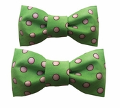Dog Bow Tie Green with Pink Dots