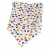 Dog Party Bandana with Colored Paw Prints with Velcro Closure