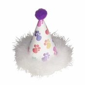 Doggie Birthday Hat with Paw Prints and Feather Trim