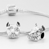 NEW! European Style Sterling Cropped Ear Pit Bull Charm