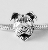 European Style Sterling Smiling Pit Bull Charm