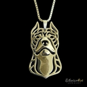 Gold Pit Bull Necklace (Cropped Ears)