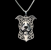 Happy Sterling Silver Pit Bull (Natural Ears)