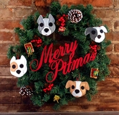Merry Pitmas Wreath With One or More Pit Bulls